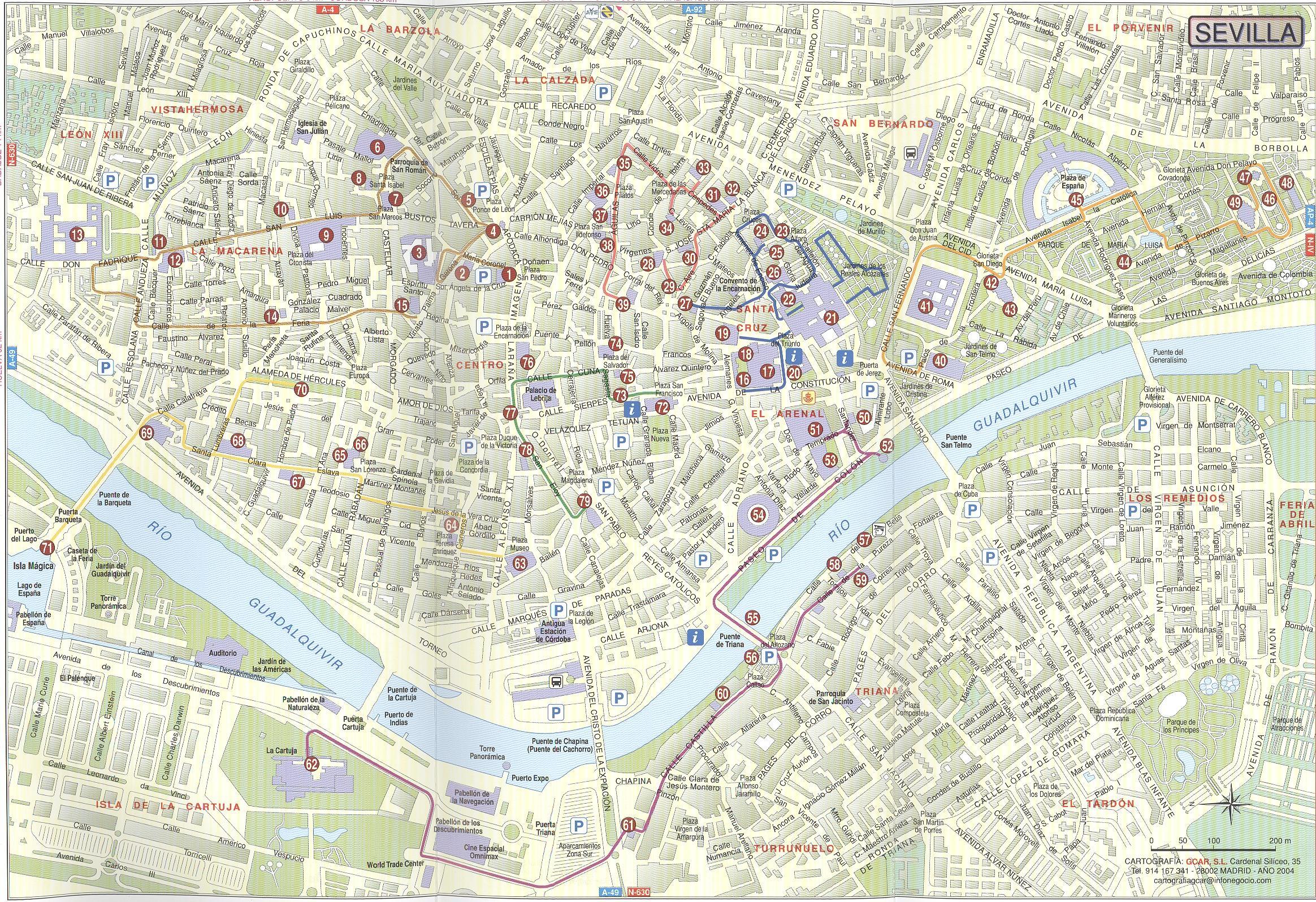 Mapa Callejero De Sevilla.Sevilla Calle Mapa Callejero De Sevilla Espana