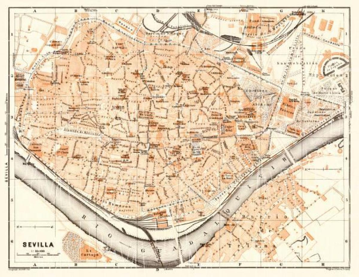 Sevilla Casco Antiguo Mapa Mapa De La Antigua Ciudad De Sevilla De